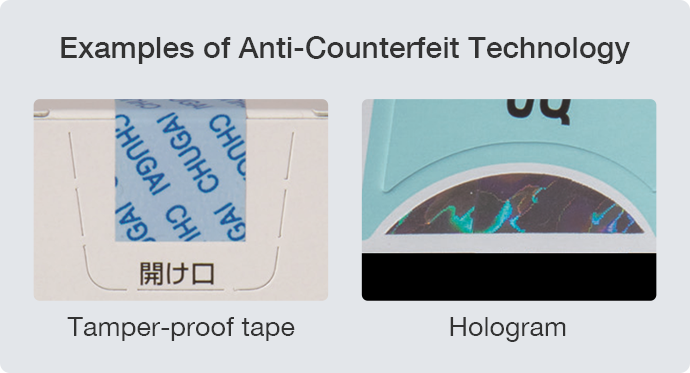 Examples of Anti-Counterfeit Technology : Tamper-proof tape, Hologram